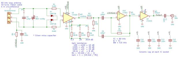 60 kHz Preamp - Kicad schematic