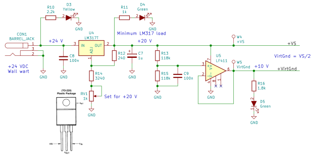 60 kHz Preamp - power supply - Kicad schematic