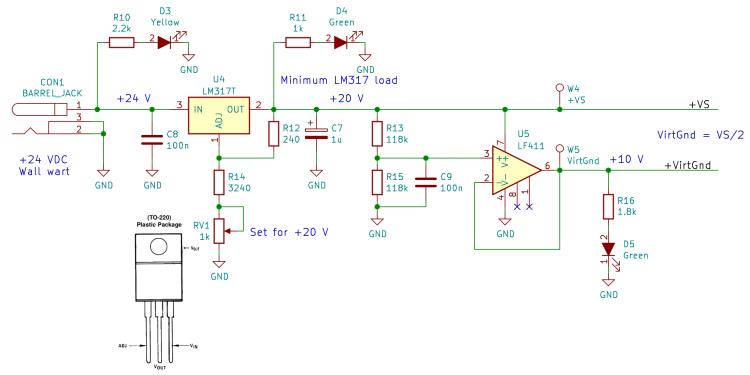 60 kHz Preamp - power supply - Kicad schematic
