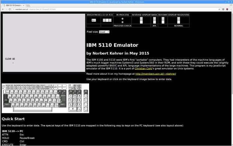 IBM 5110 Emulator - Javascript on Raspberry Pi