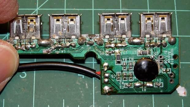 Hacked USB hub - PCB mods