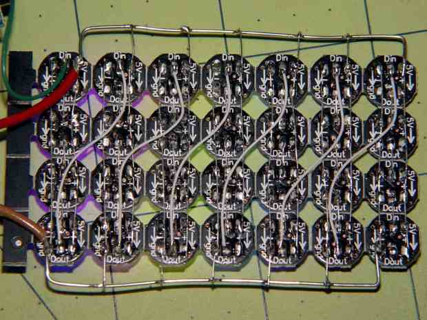 WS2812 4x7 LED test fixture - wiring
