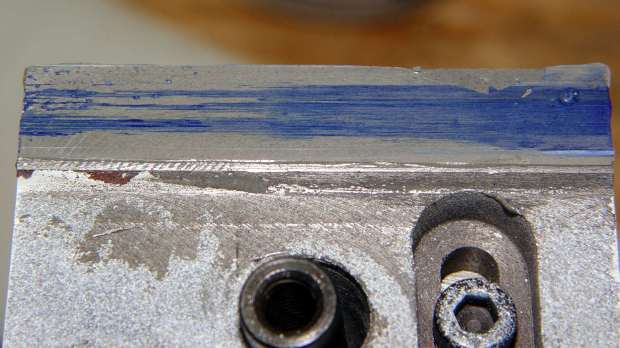 Tailstock way repair - flat epoxy blued
