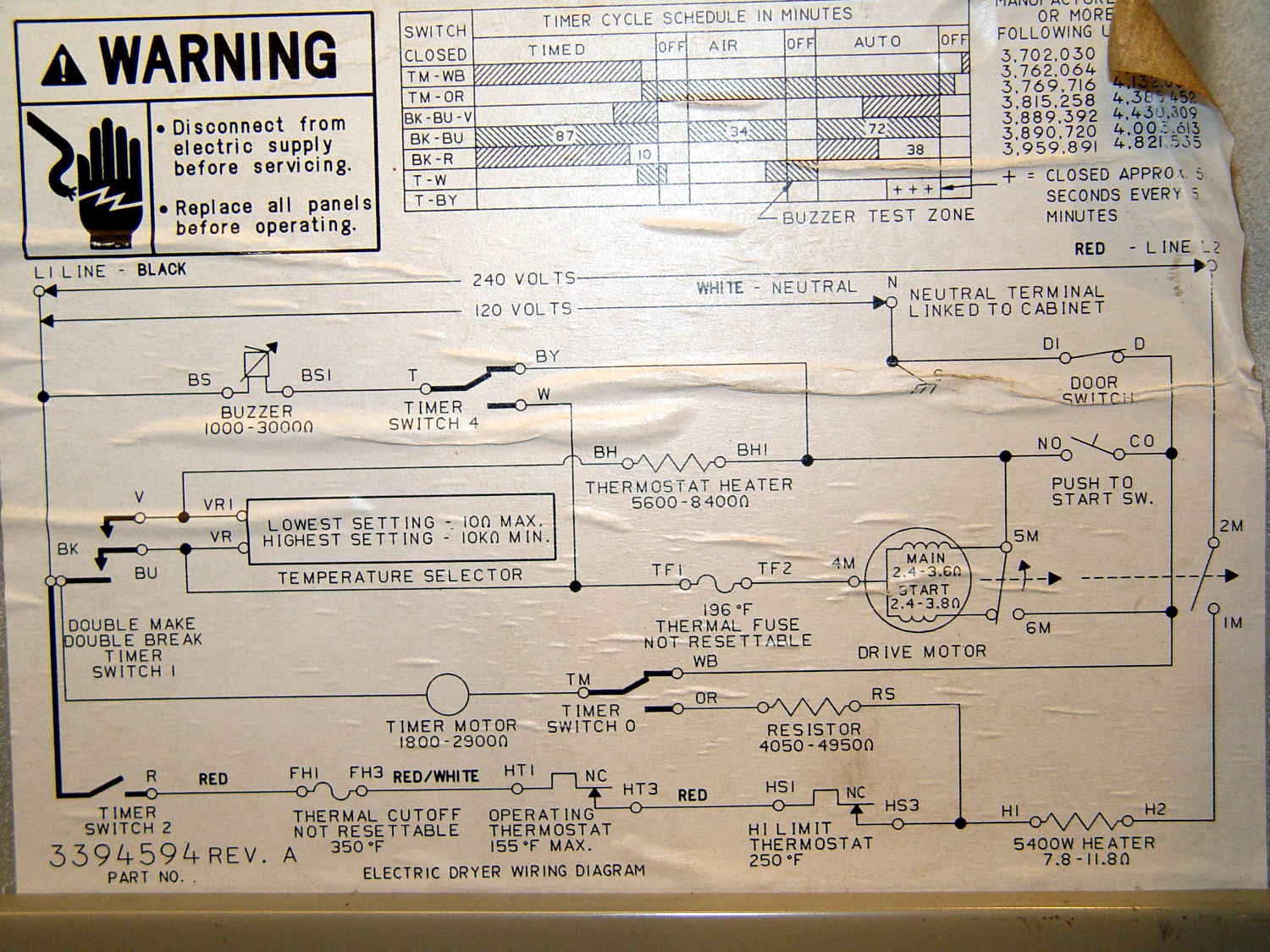 Label No Kenmore Electric Dryer Wiring Diagram on