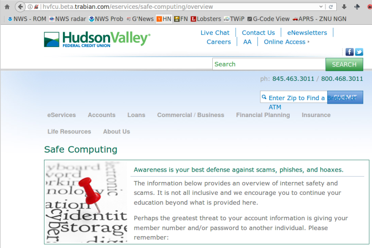 HVFCU - Safe Computing - sketchy URL