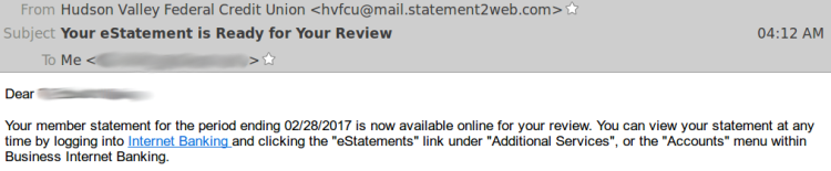 HVFCU - Statement email - From address