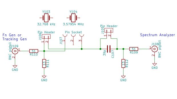 Quartz crystal resonance test fixture - schematic