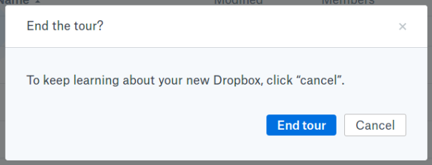 Dropbox - tour exit dialog