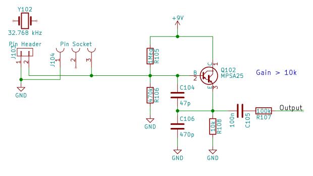 Quartz resonator - Colpitts oscillator - schematic
