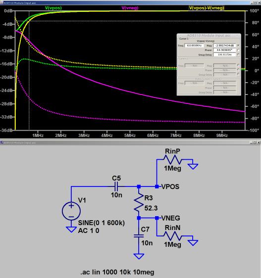 AD8310 Log Amp module - input circuit simulation