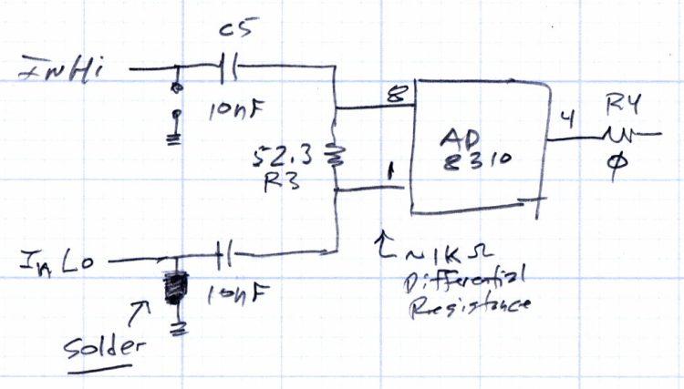 AD8310 Log Amp module - input circuit