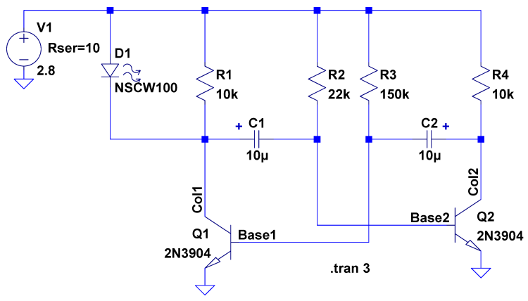 Astable Multivibrator - CR2032 - schematic