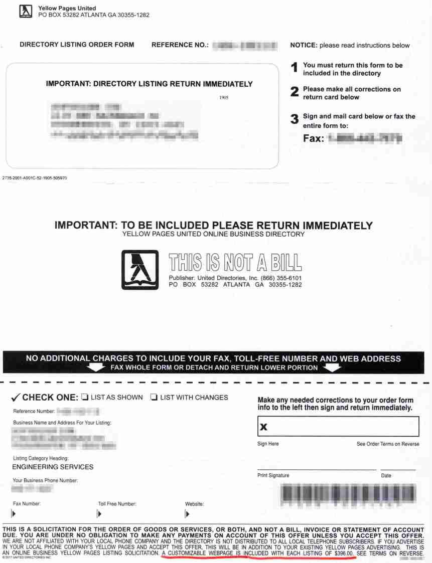 Biz Directory Scam - the deal
