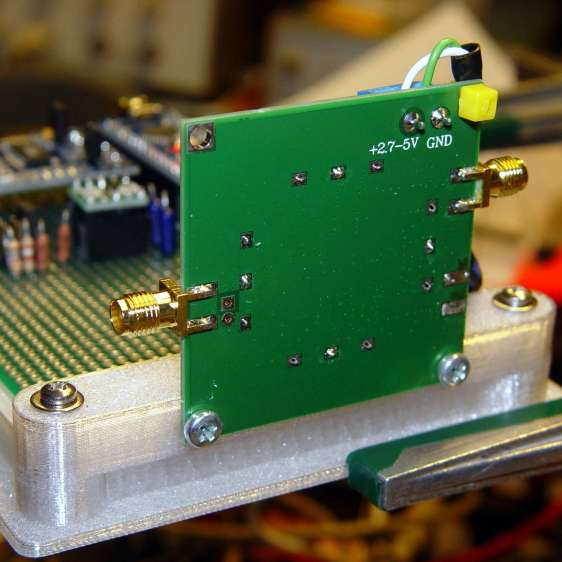 AD8310 module bracket on proto board holder - solder side