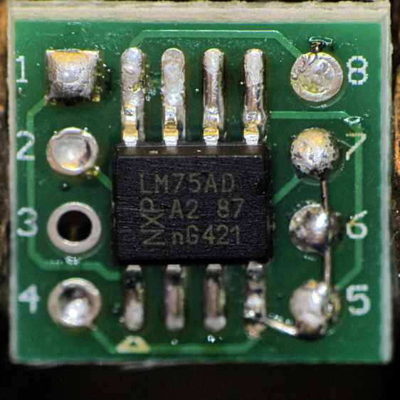 LM75A on DIP8 adapter - top