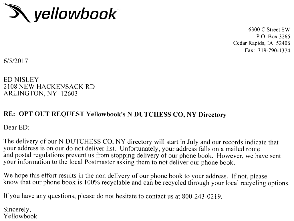 YellowBook Do-Not-Deliver Delivery