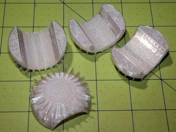 Flashlight Ball Mount - flattening fins
