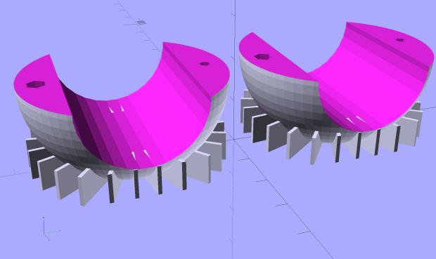 Fairing Flashlight Mount - Ball - build view - solid model