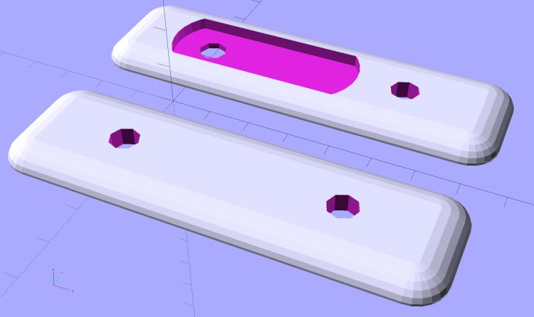 Fairing Flashlight Mount - Plates - solid model