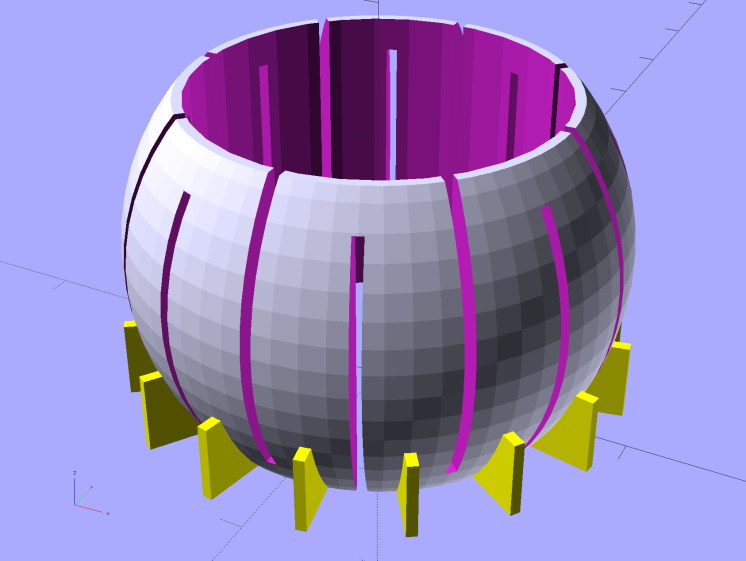 Fairing Flashlight Mount - Finger Ball - solid model - support fins