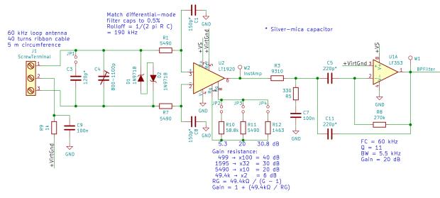 60 kHz Preamp Schematic - DM filter inst amp - BP filter rebias - 2017-09-22