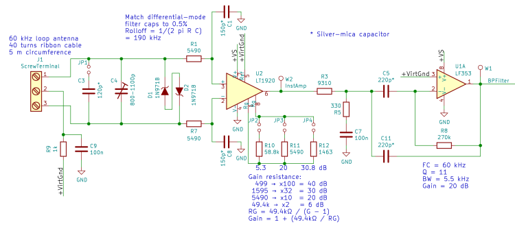 60 kHz Preamp Schematic - DM filter inst amp - BP filter rebias - 2017-09-22