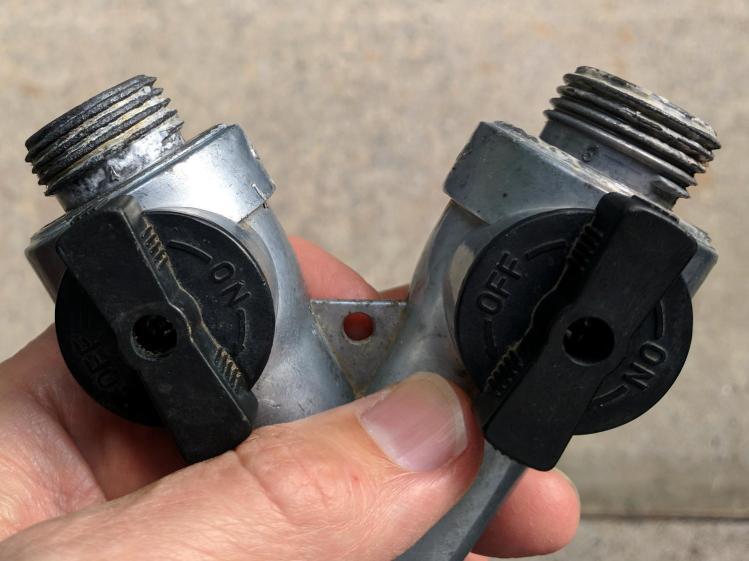 Garden hose Y valve - after vinegar soak