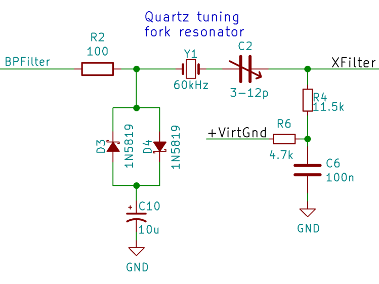 Tuning Fork Resonator Filter - protection and biasing