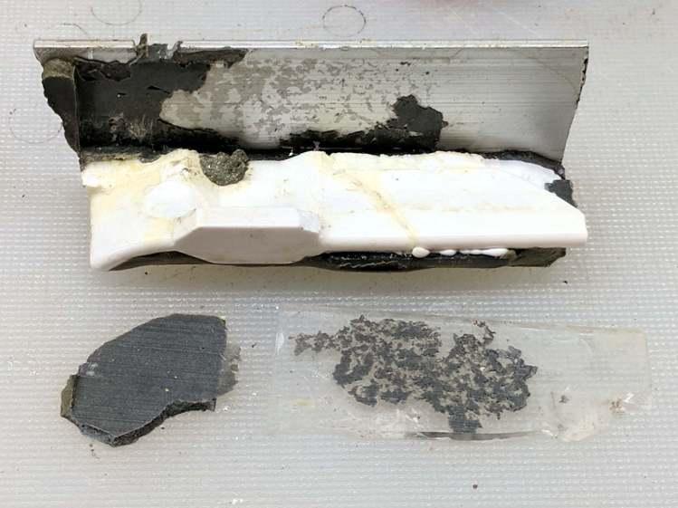 Refrigerator shelf slide - failed parts