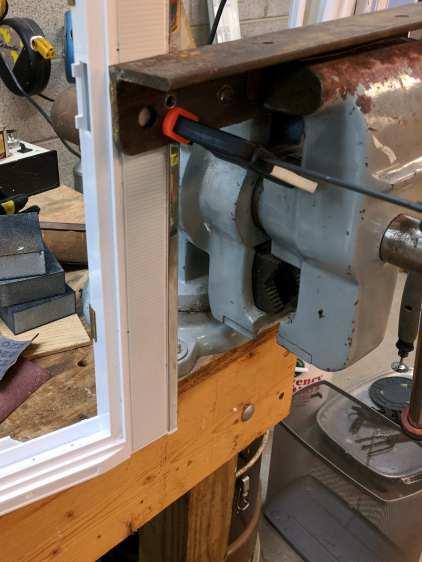 Refrigerator shelf slide - upright vise clamp
