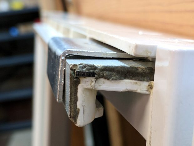 Refrigerator shelf slide - trial assembly
