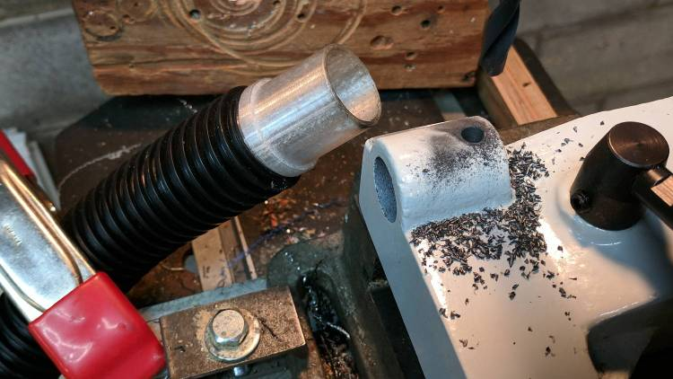 Drilling for tailstock lever stop