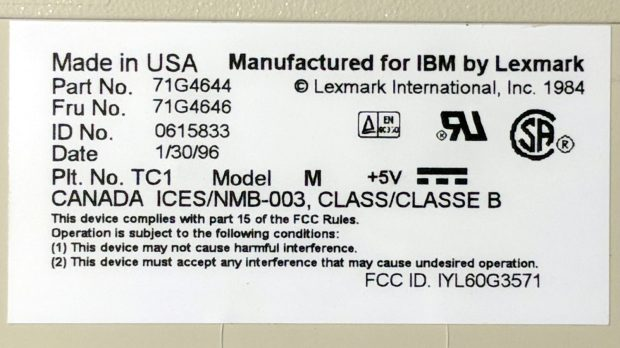 IBM Model M 1996 - label