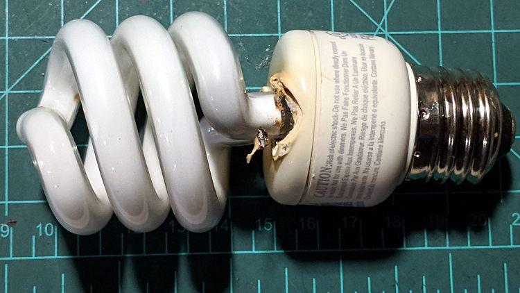 Failed CFL bulb