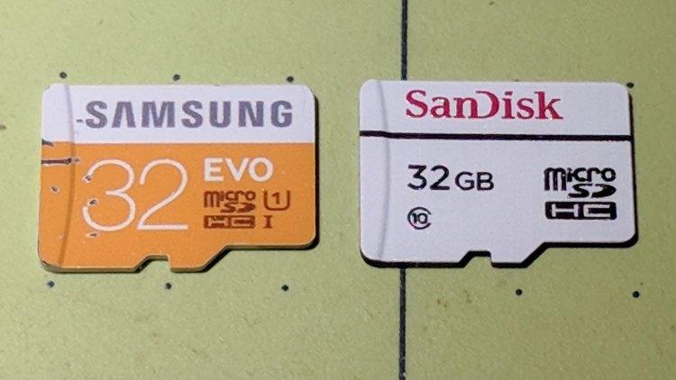 MicroSD 32 GB - Samsung EVO and SanDisk High Endurance