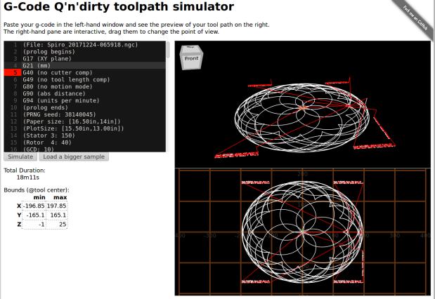 Overlaid pattern - G-Code simulator