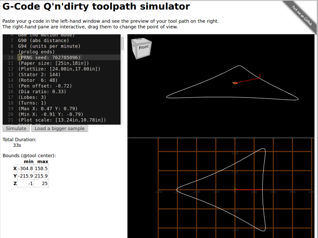 Spirograph - 3 lobes - QnD Simulator