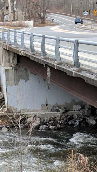 Red Oaks Mill bridge - dangling concrete