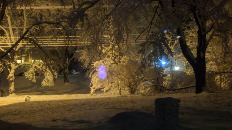 Snowfall - Pixel IR rangefinder reflections - detail