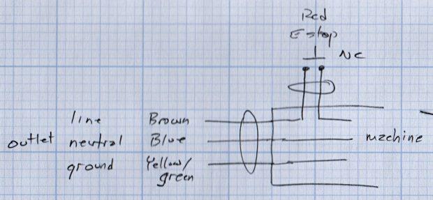 Line voltage E-stop doodle
