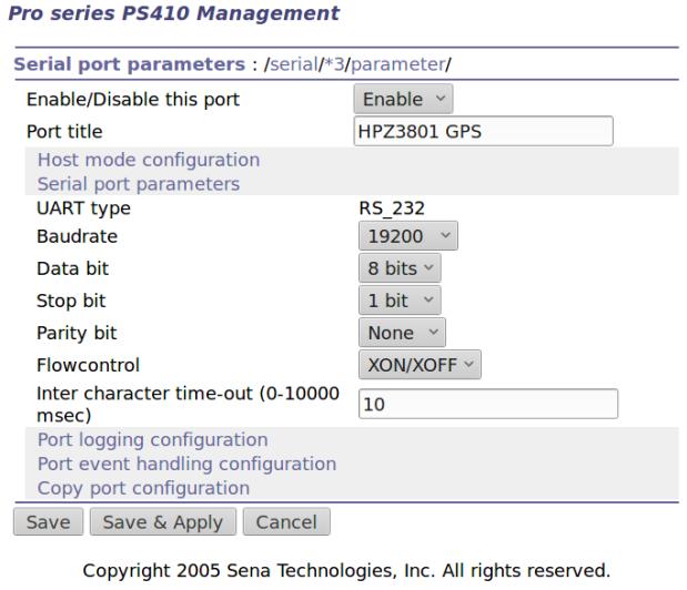 Port 3 - Z3801 serial config