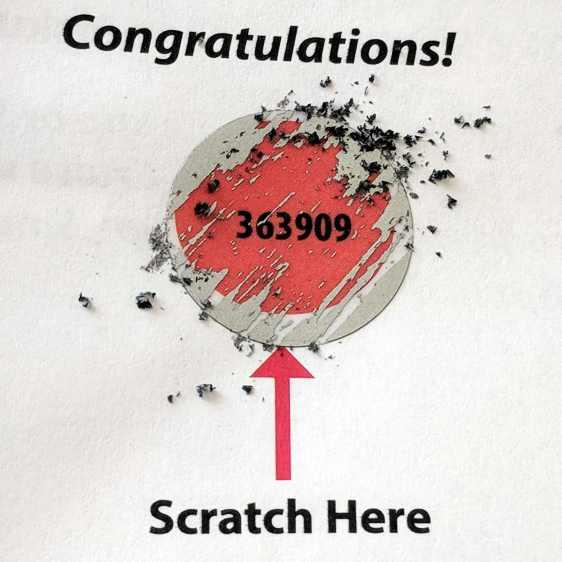 TCU 100 - scratch-off number
