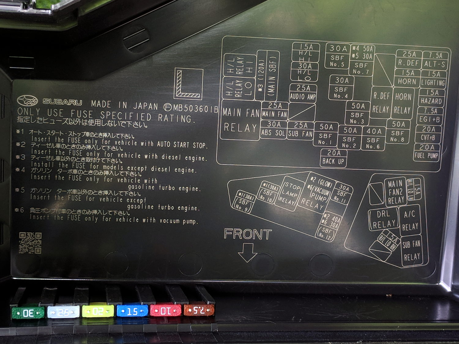 2015 subaru forester - engine compartment fuse id