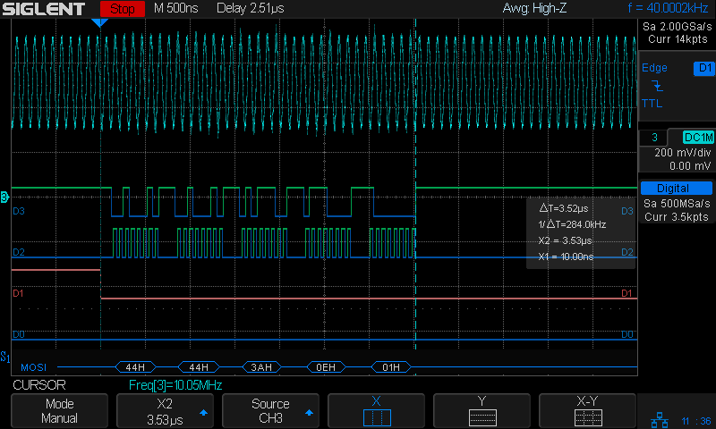 FM DDS 10 MHz - SPI 16 MHz LSB