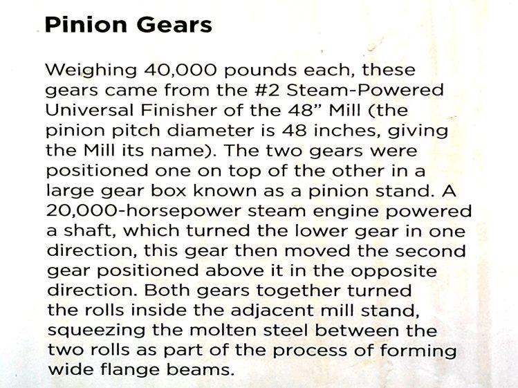Bethlehem Steel - 48 inch rolling mill gears - description