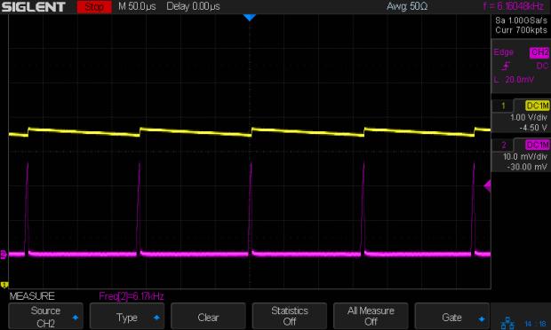 Small Sun flashlight - V boost I 200mA-div - idle