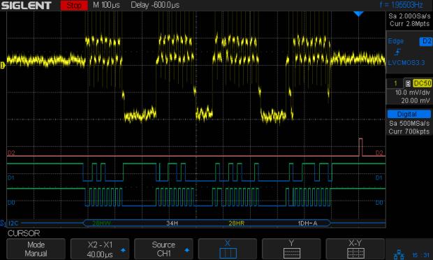 I2C 100kHz - BNO055 SCL 1 mA-div - B7 Rd error
