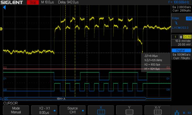 I2C 200kHz - actual 125kHz