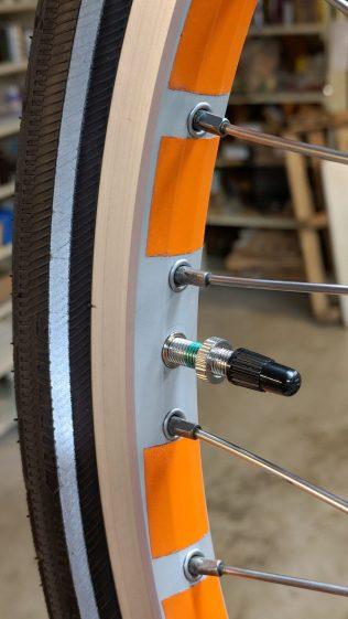 Presta-Schraeder Adapter - valve stem installed