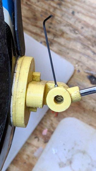 Helmet mirror mount - bottom view - setscrew